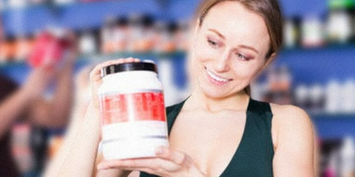 A woman holding a creatine