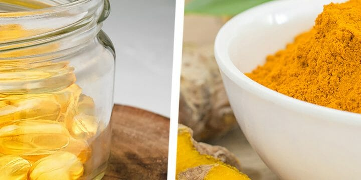A glass full of fish oil and turmeric powder on bowl
