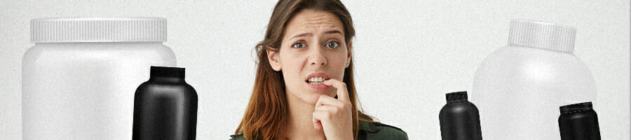 A woman biting her nails thinking what supplement powder she should choose