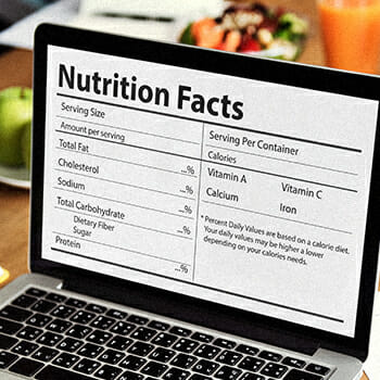 A laptop providing a nutrition facts for a product