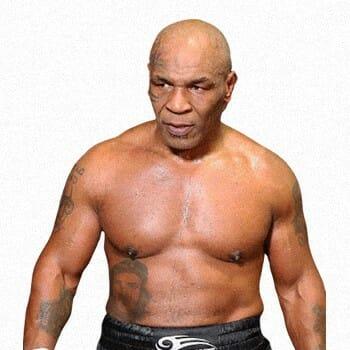 Shirtless Mike Tyson walking