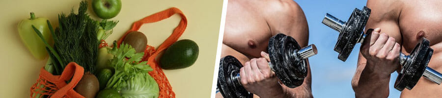 vegetable greens in a shopping bag, and two men working out with a dumbbell