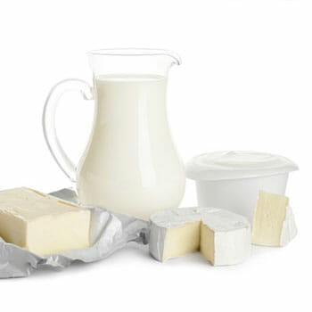 butter, milk, cheese and yogurt in one image