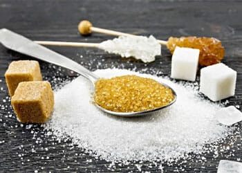 types of sugar on a table