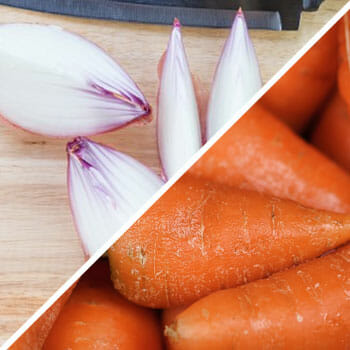 sliced onions on a tray, fresh cropped carrots