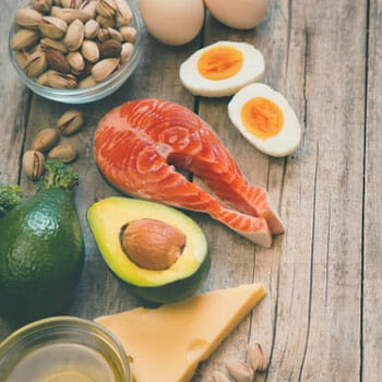 different types of high fat food sources in a table