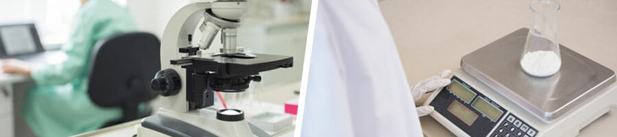 microscope and weighing scale in a lab test