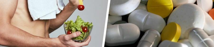 man eating a salad bowl shirtless, close up image of medicine pills