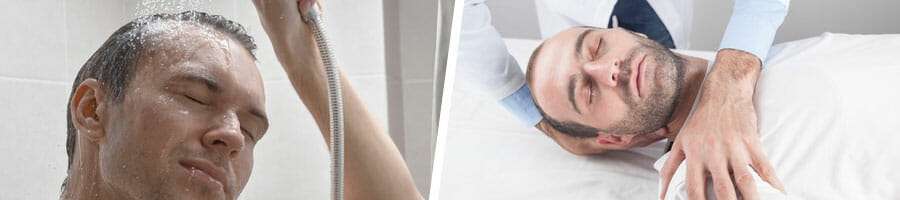 man taking a bath with a shower head, man sleeping while having a massage