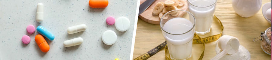 different vitamins scattered on the table, glasses of whey protein drinks