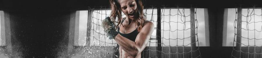 woman in an intense workout