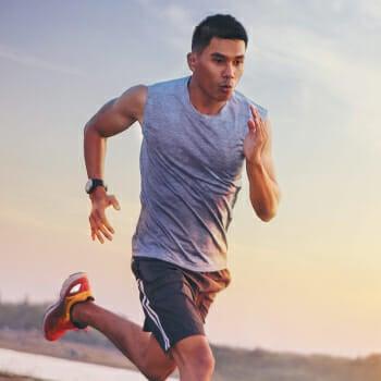 A man sprinting outdoor
