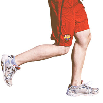 Calf muscles forming from doing jogging and sprinting