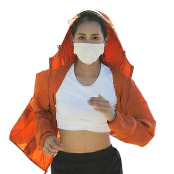 A woman wearing a facemask