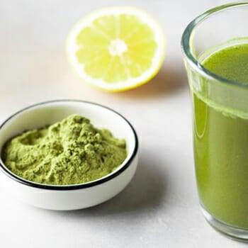 Wheatgrass juice powder in a bowl