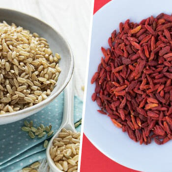 bowl of brown rice, and another bowl of goji berries