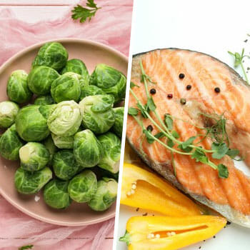 stack of brussel sprouts and a fresh cooked salmon