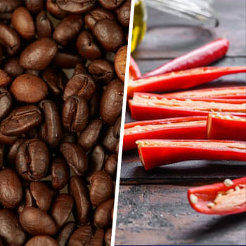 close up image of coffee beans and sliced chili peppers