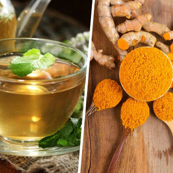 green tea in a cup, and spoons and bowls of turmeric powder