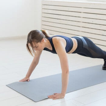 woman working out indoors