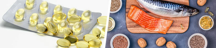 sachet of fish oil capsules, and a set of food with omega 3