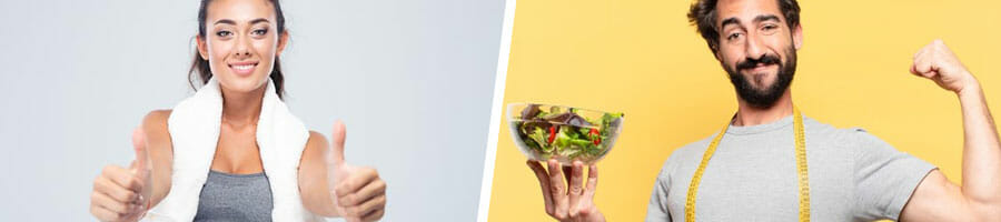 woman giving a thumbs up in gym clothes, and a man holding up a salad
