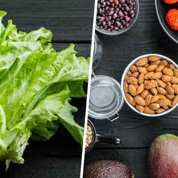 lettuce leaves on table, and bowls of beans and nuts