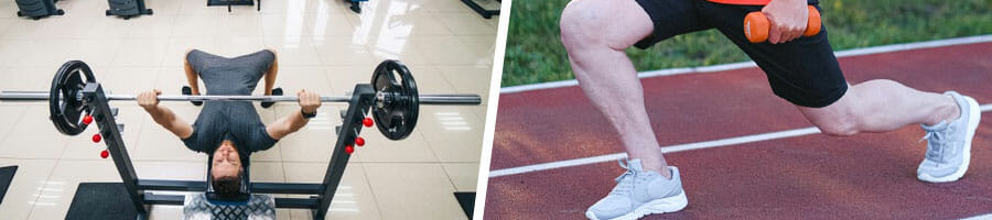 man doing bench press in a gym, and a close up image of a man's legs doing lunges