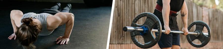 man doing push ups indoors, and another man doing weight lifting outdoors