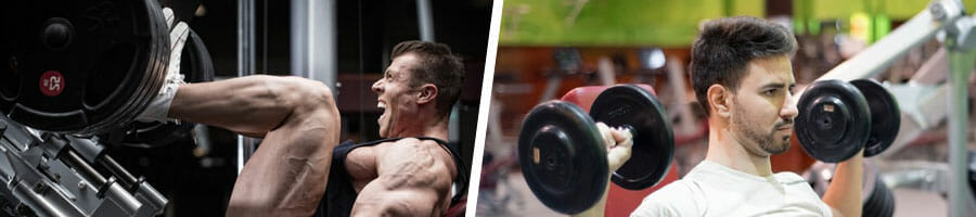 man in a leg press position, and another man using dumbbells on both arms