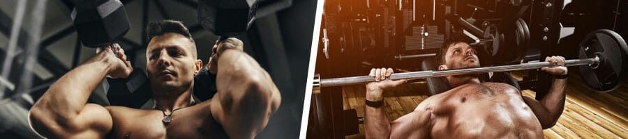 man using dumbbells on both arms, and another man doing bench presses