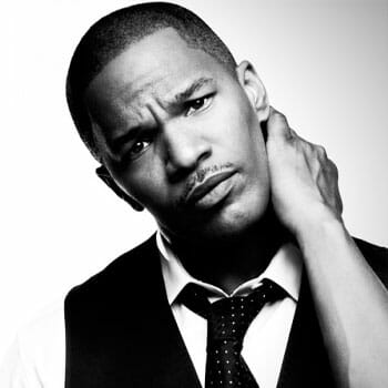 black and white face image of Jamie Foxx
