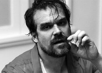 black and white image of David Harbour
