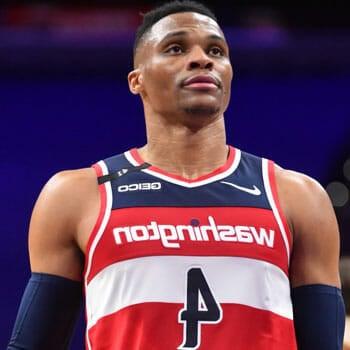 Russel Westbrook wearing a basketball jersey in court