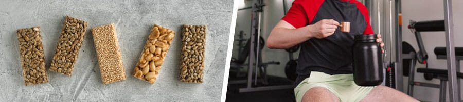 different types of protein bars and a man holding a protein powder container and scooper