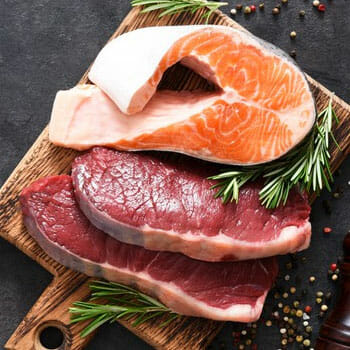 fresh salmon fish and red meat