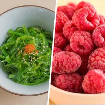 bowl of fresh seaweeds, and stack of raspberries