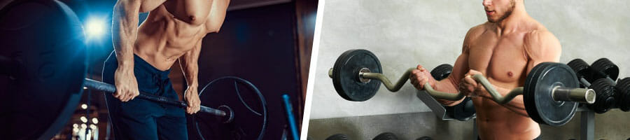 shirtless man in a barbell row position and another man doing ez curls