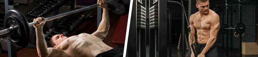 man in a bench press position and another man doing triceps pulldown