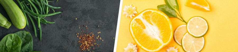 green vegetables on the table, and citrus fruits in a yellow background