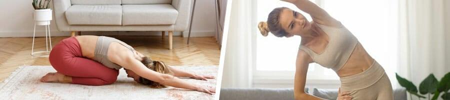 woman doing yoga, and another woman doing aerobics