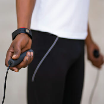 A man holding his jumping rope
