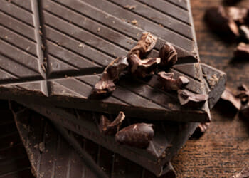 A close up picture of a dark chocolate