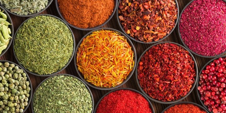 Different kinds of spices in a bowl