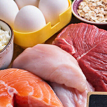 Protein foods on table