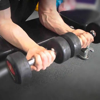 hand view of a person doing Palms-Up Seated Dumbbell Wrist Curl