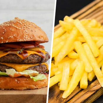 close up images of a heavy burger and french fries