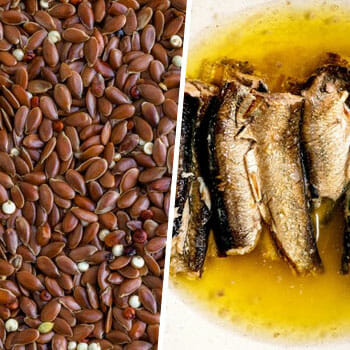 close up image of flax seeds and a plate of cooked sardines