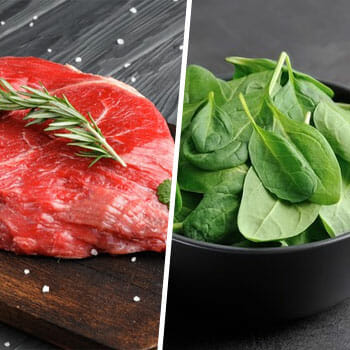 fresh cut red meat in a plate, and spinach leaves in a bowl