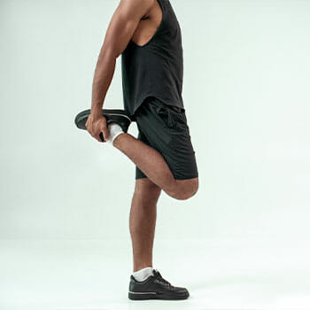 leg view of a man warming up his legs